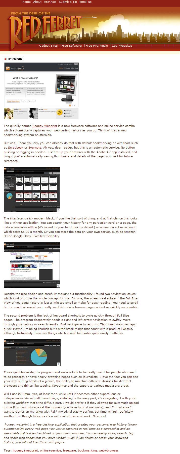 Hooeey webprint homepage for Redferret net